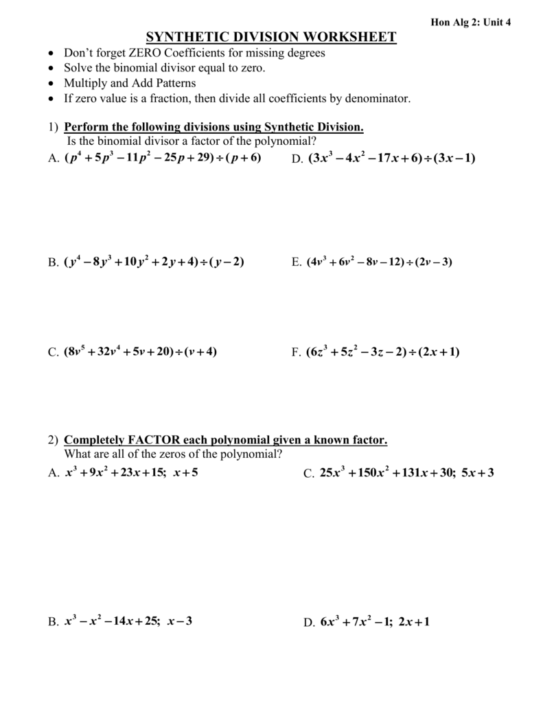 Hon Alg 2 Unit 4 Synthetic Division Worksheet Dont Forget