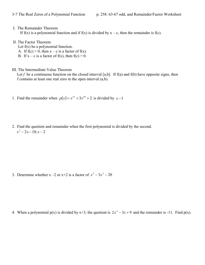 Worksheets Rational Root Theorem Worksheet 3 7 the real zeros of a polynomial function