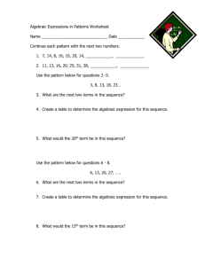 Algebraic Expressions in Patterns Worksheet