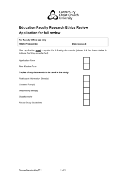 EDU FREC Application Form - Canterbury Christ Church University