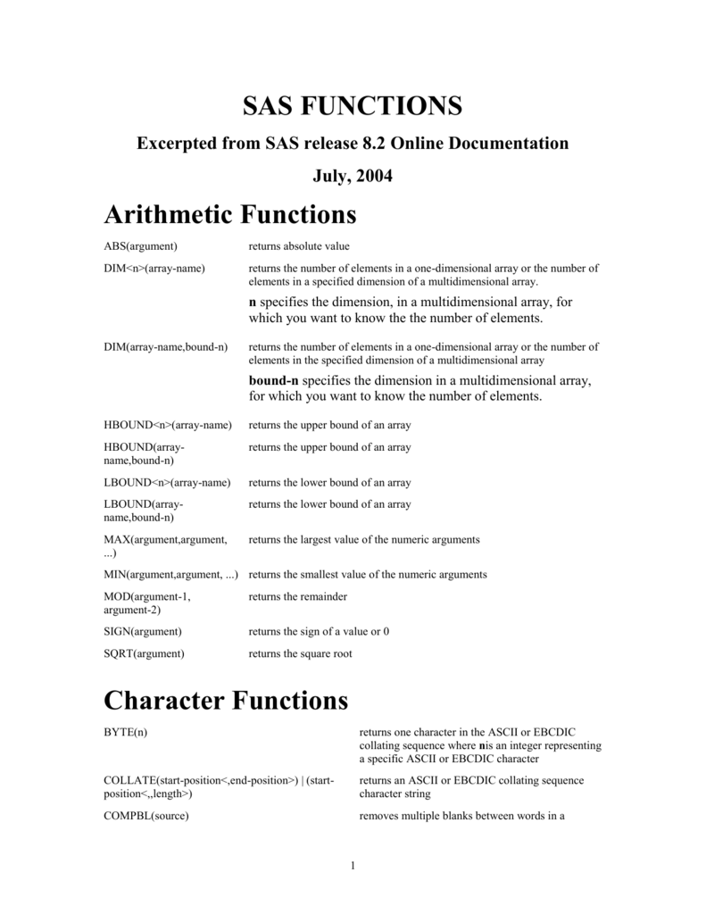 SAS FUNCTIONS: Arithmetic Functions