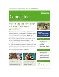Connected, Issue 3 - University of Reading email newsletter for alumni