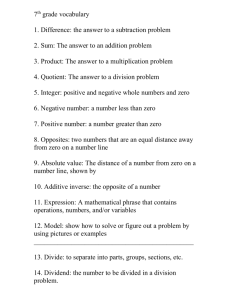 Integer: the set of whole numbers and their opposites