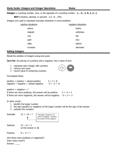 Study Guide: Integers and Integer Operations