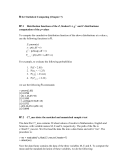 R for Statistical Computing (Chapter 7)
