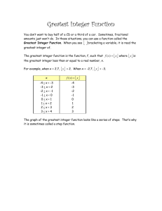 Greatest Integer Function - section 4-1