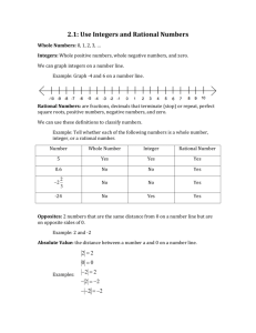 2.1: Use Integers and Rational Numbers Whole Numbers: 0, 1, 2, 3