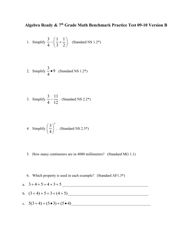 7th grade math test Mathematics, grade 7 202 grade 7 mathematics test the spring 2014 grade 7 mathematics test was based on standards in the five domains for grade 7.