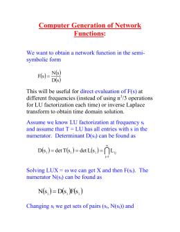 Computer Generation of Network Functions: