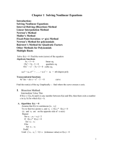 1. Solving Nonlinear Equations