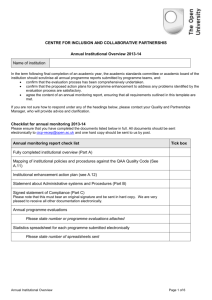 Annual Institutional Overview Template 2013