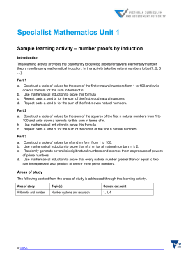 Sample learning activity number proofs by induction