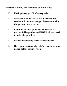 Solving Equations 2 Practice Activity