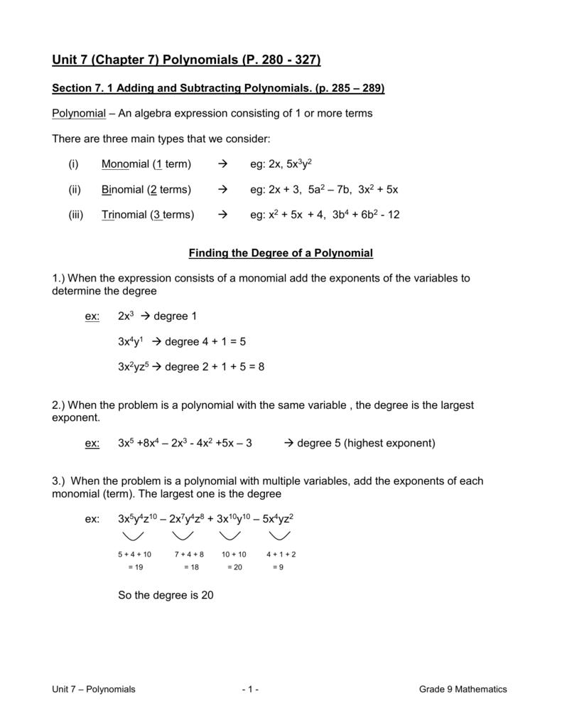 Unit 7 (Chapter 7) Polynomials (P