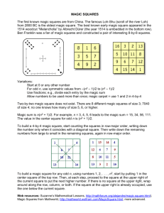 """Before Sudoku - The World of Magic Squares"""", by Block and"""