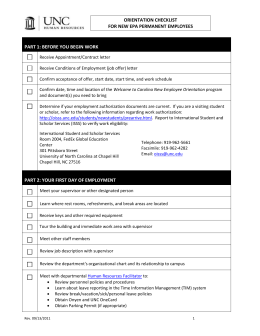 Orientation Checklist for New EPA-NF Employees