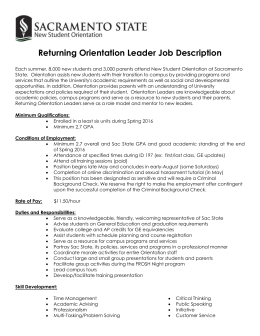 Returning Orientation Leader Job Description Each summer, 8,000