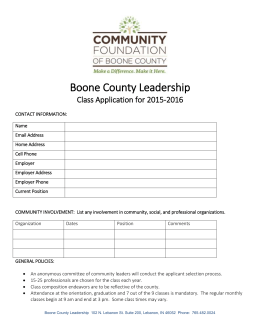 Boone County Leadership Class Application for 2015