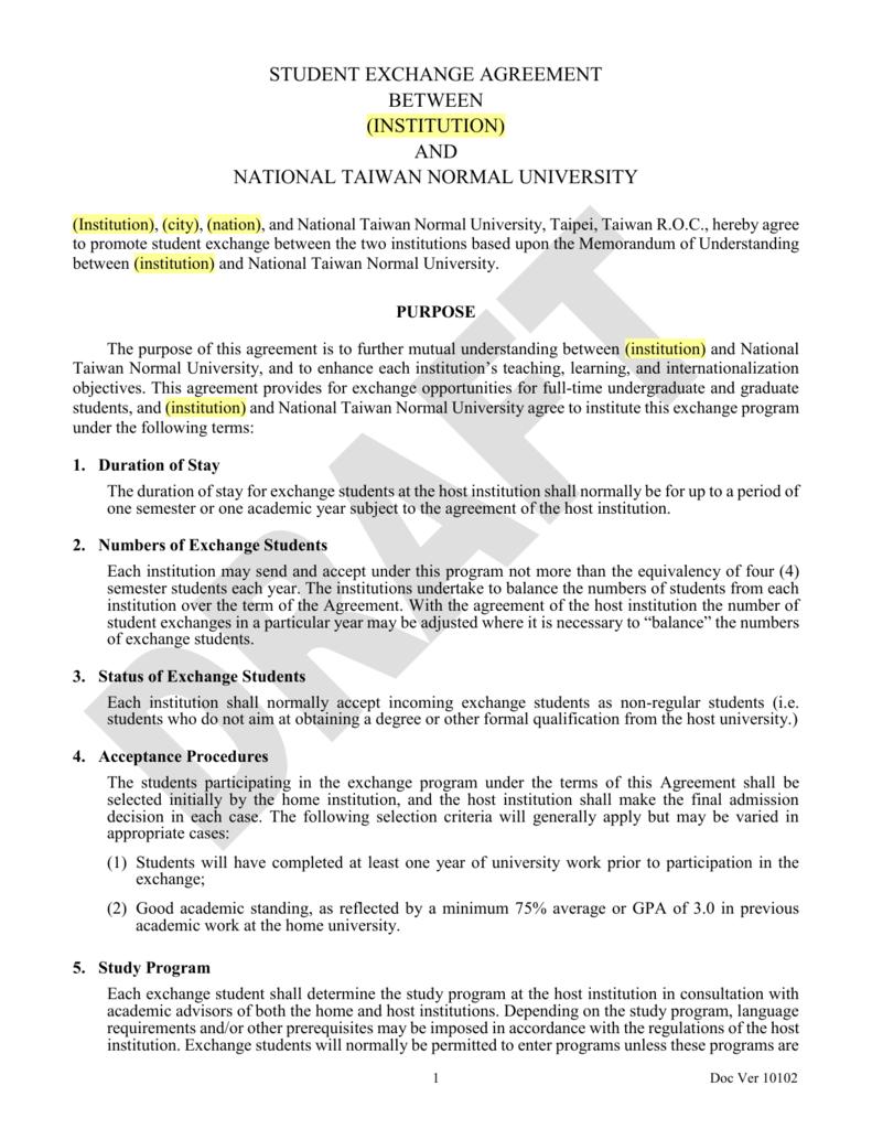 Exchange Agreement   Ntnu Student Exchange Agreement