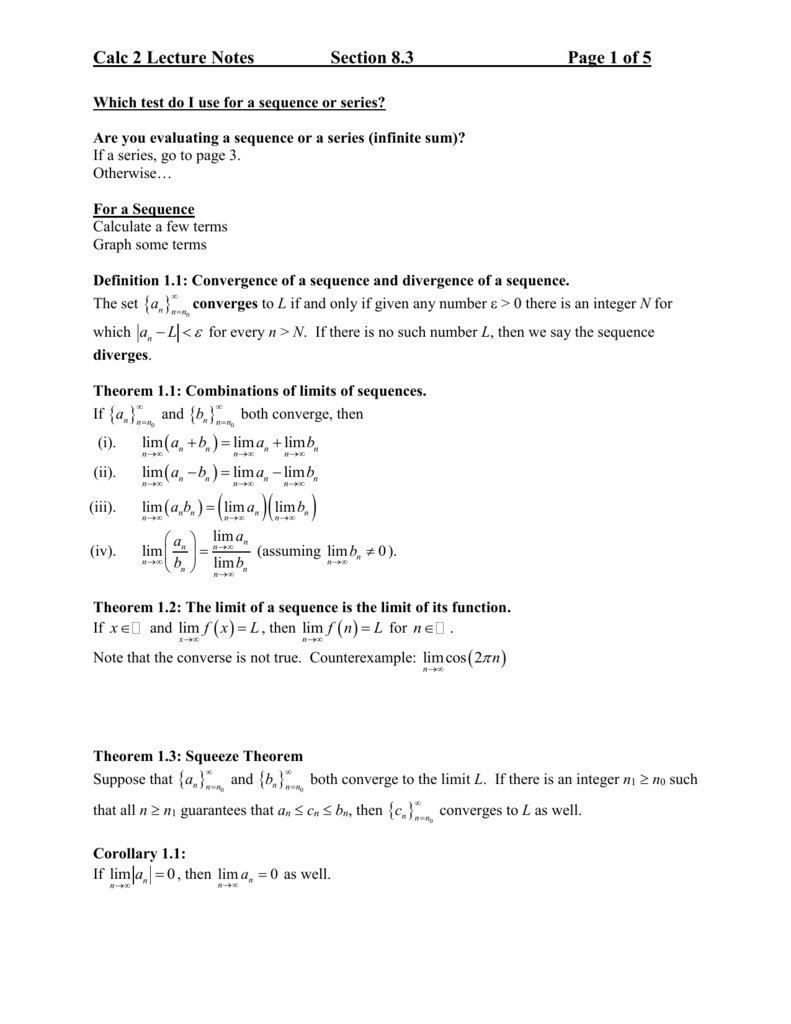 Calc 2 Series Test