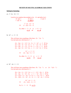 REVIEW OF SOLVING ALGEBRAIC EQUATIONS
