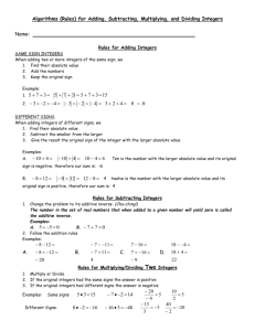 Integer Algorithms for Adding, Subtracting, Multiplying, and Dividing