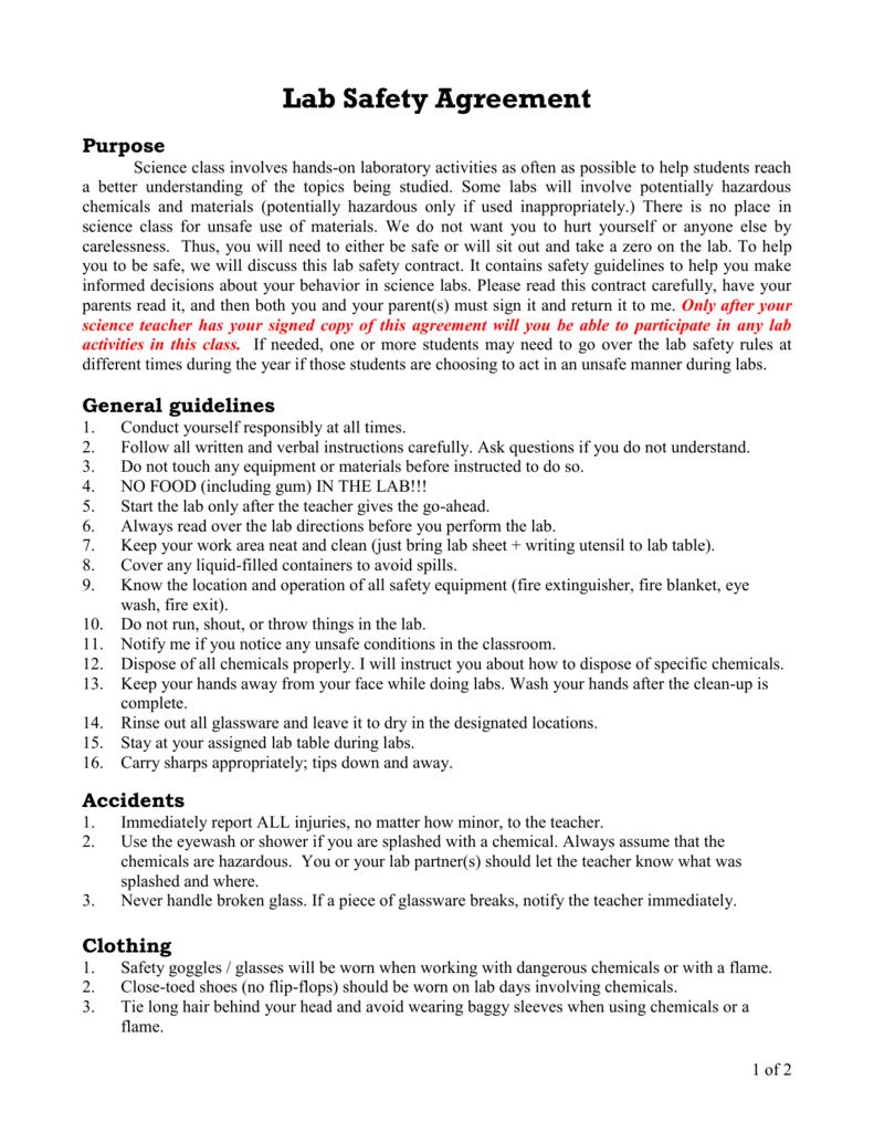 Lab Safety Agreement
