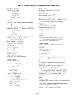 Dr Colton`s MCAT formula review sheet