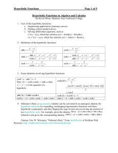 Hyperbolic Functions - Madison Area Technical College