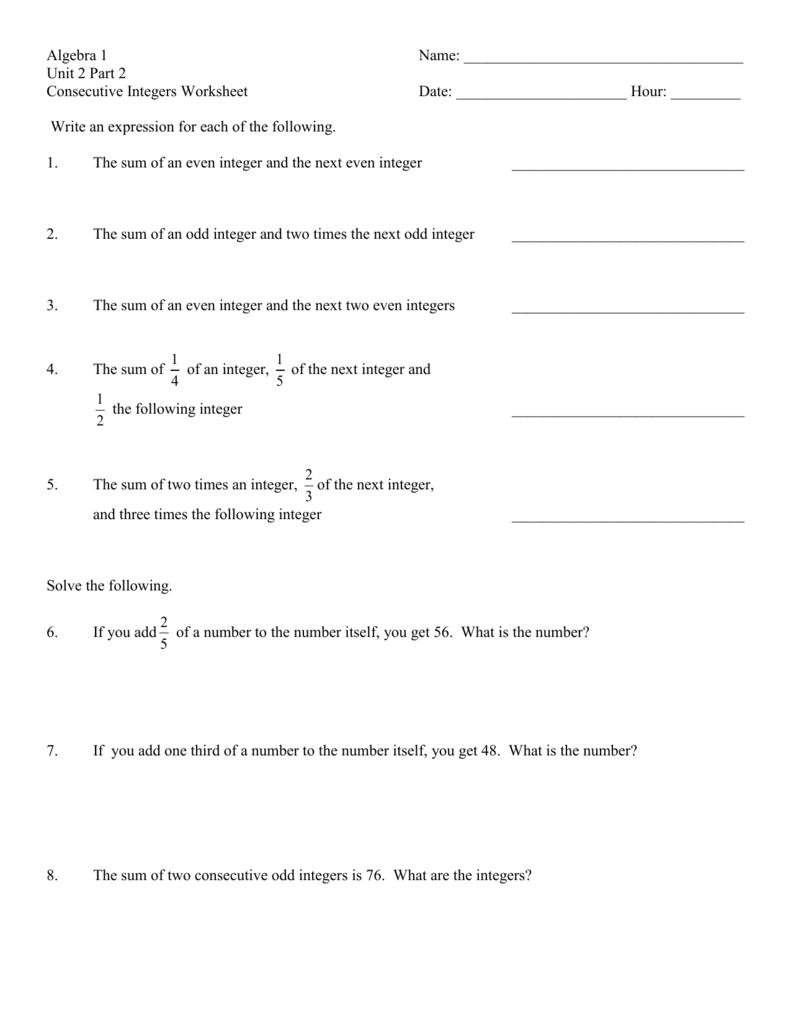 Worksheet Consecutive Integers Worksheet Worksheet Fun Worksheet