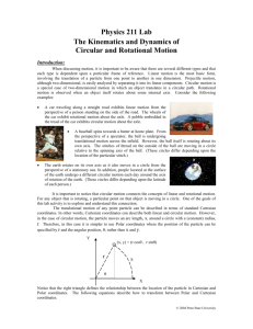 Lab #8: The Kinematics & Dynamics of Circular & Rotational Motion