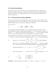 4.5.1 The Inverse Power Iteration Algorithm