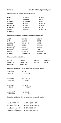 Sig. Figs. & Sci. Notation-Worksheet & Answer Key