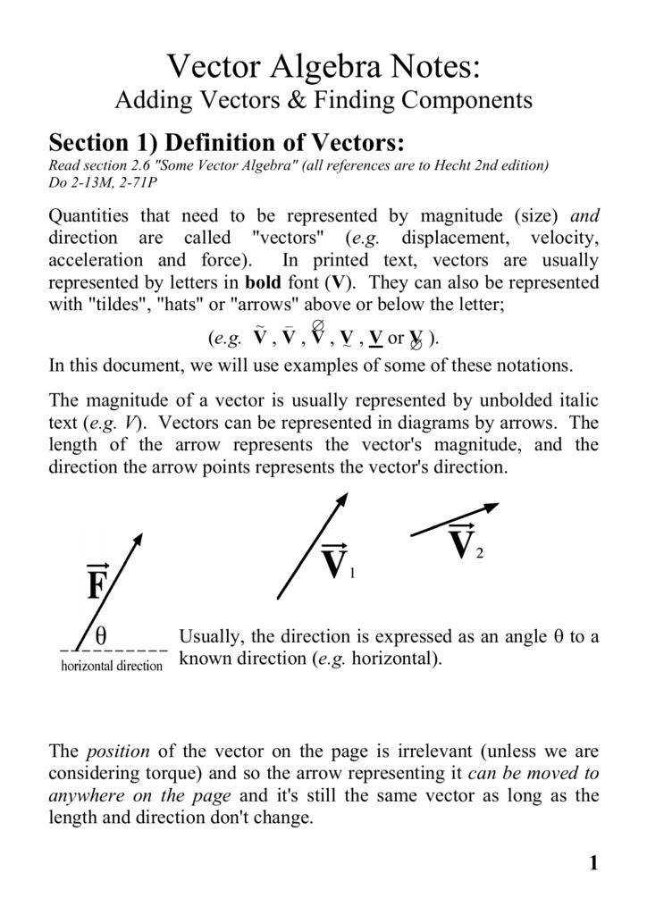 Vector Algebra Notes: