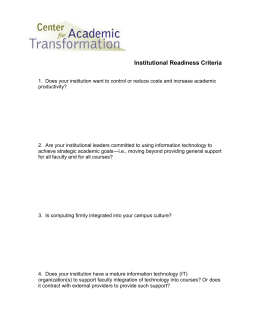 Institutional Readiness Criteria