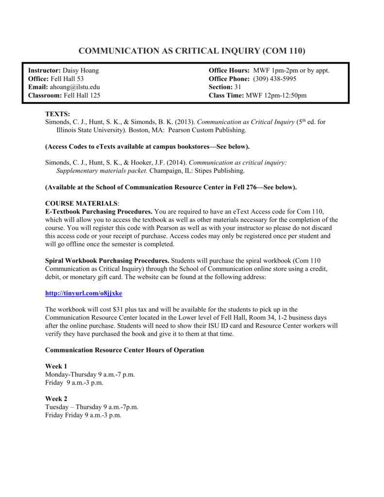 Workbooks workbook com : Communication 101 - Illinois State University