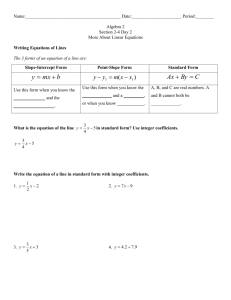 Writing Equations of Lines