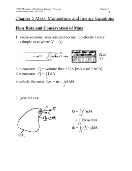 Chapter 5 Mass, Momentum, and Energy Equations