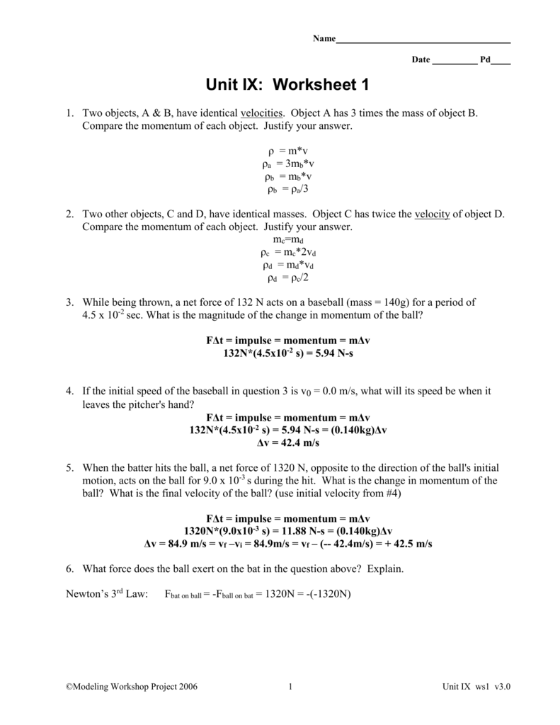 worksheet Unit 4 Worksheet 1 Physics template