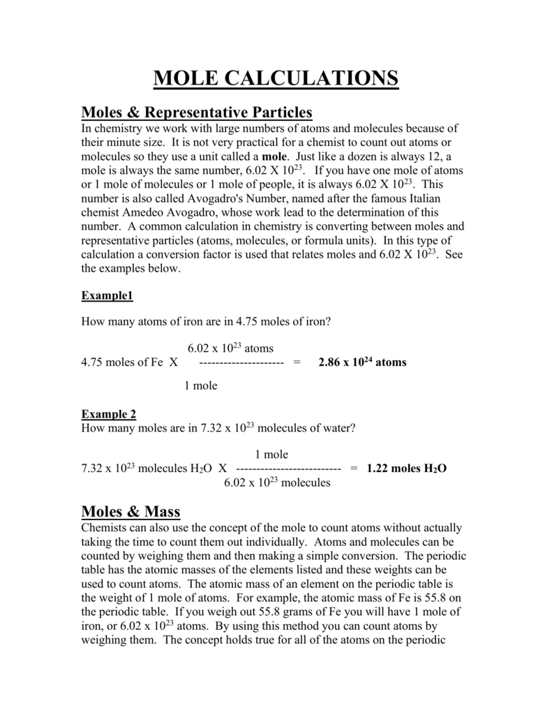 MOLE CALCULATIONS Moles Representative Particles In – Grams Moles Calculations Worksheet