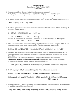 Mole Calculations Activity 2014