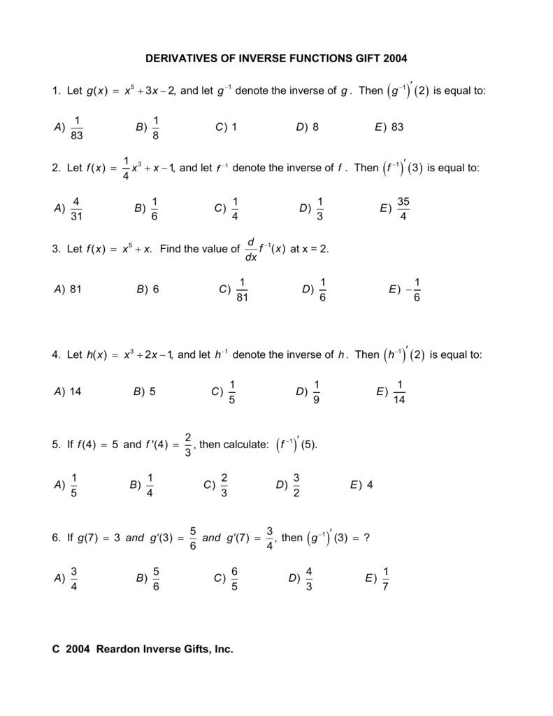 DERIVATIVES OF INVERSE FUNCTIONS GIFT 2004
