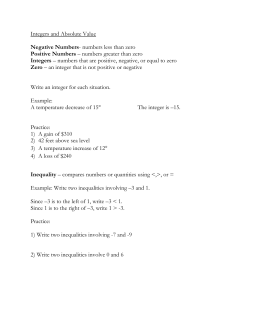 Integers and Absolute Value Negative Numbers