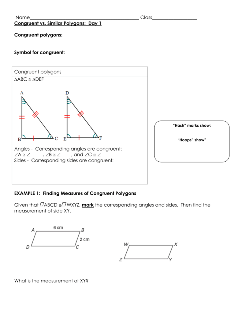 Congruent vs  Similar Polygons Day 1 notes