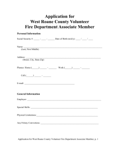Application for Associate Membership in West Roane County