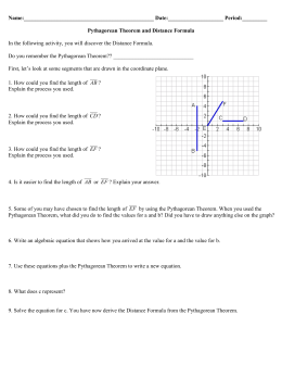 Pythagorean Theorem and Distance Formula