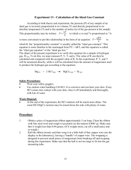 Lab: Molar Volume of Hydrogen Gas
