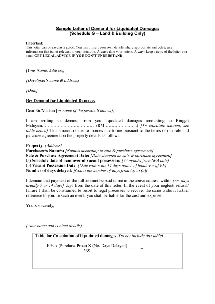 Sample Letter of Demand for Liquidated Damages