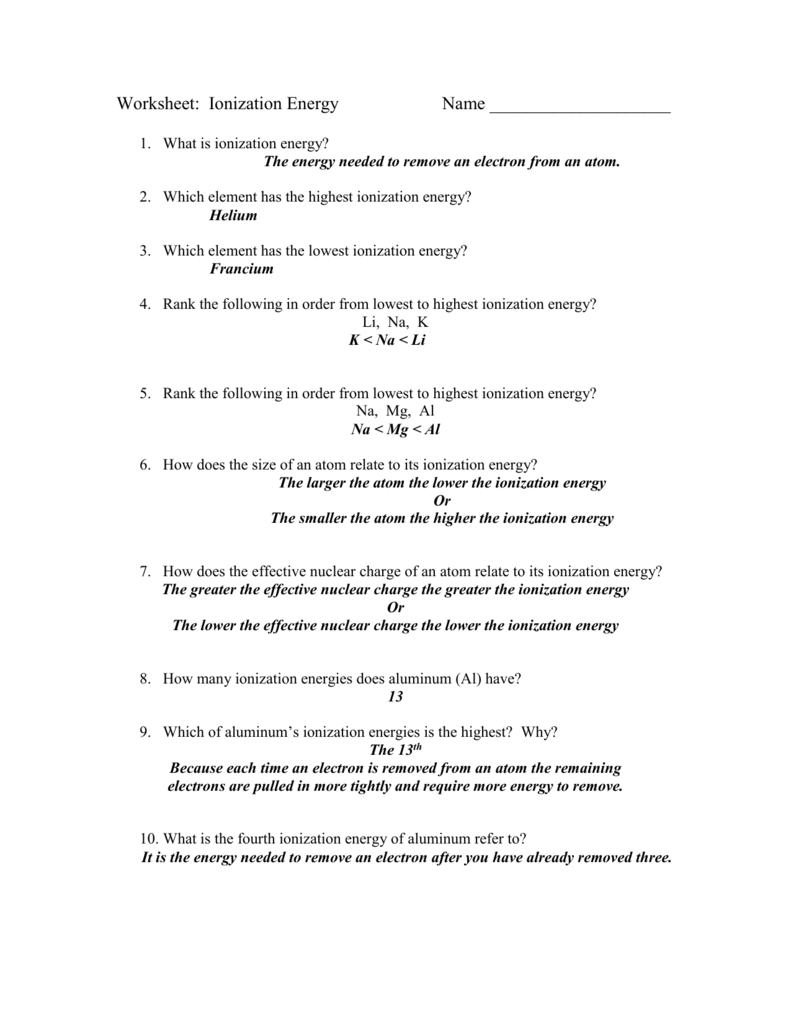 Worksheet: Ionization Energy