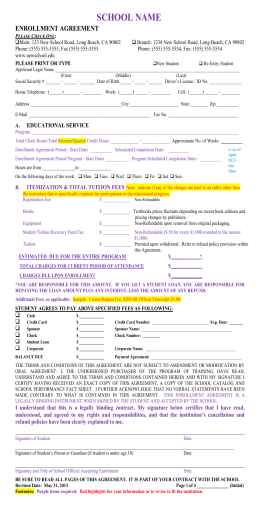 Example Of An Enrollment Agreement School Name